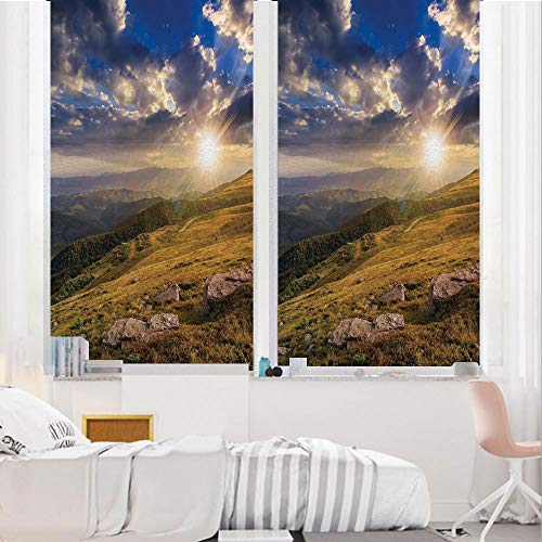 - Nature 3D No Glue Static Decorative Privacy Window Films, Mountain Hills Landscape with Bright Sun Lights on Meadow Misty Rural Panorama,17.7