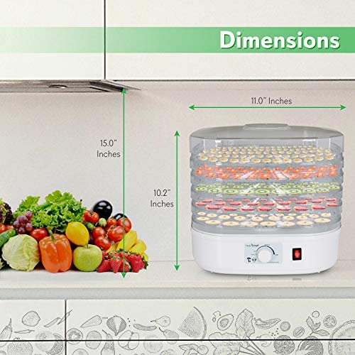 NutriChef Food Dehydrator Machine – Professional Electric Multi-Tier Food Preserver, Meat or Beef Jerky Maker, Fruit Vegetable Dryer with 5 Stackable Trays, High-Heat Circulation – PKFD06