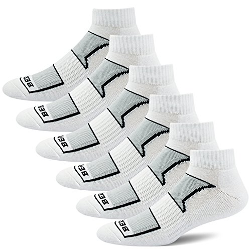 BERING Men's Performance Athletic Ankle Running Socks (6 Pair Pack) ()