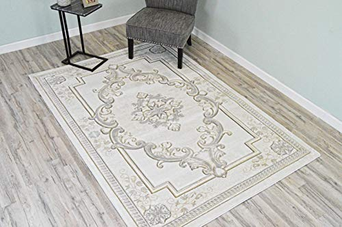 Glamour Design 3D Effect Hand Carved Traditional Oriental Floral Rug 5'2''x7'5'' Cream White by ArtistryRugs