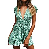 Sexy Dresses for Women, Dimanul Womens Holiday Summer Floral Print Short Sleeve Party Mini Beach Dress