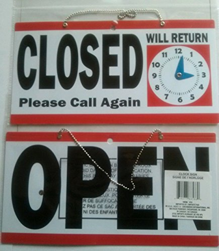 1 Set Indefectible Popular Open Closed Hanging Sign Business Hours Double Sided Size 6