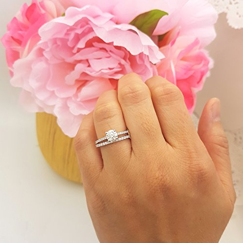 1.10 Carat (ctw) 14k White Gold Round White Diamond Ladies Bridal Engagement Ring Set