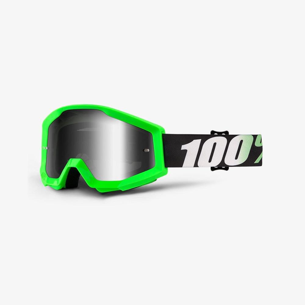 100% Motocross Brille Strata Arkon Grü n Verspiegelt klar MX SX Offroad Enduro Quad MTB DH Downhill (Klar) Z5570-410-239-02