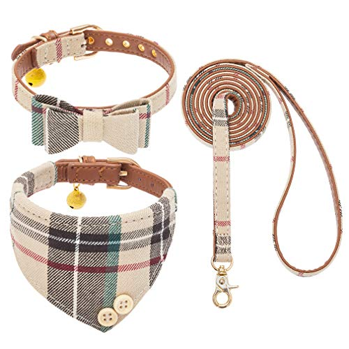 EXPAWLORER Bow Tie Dog Collar and Leash Set Classic Plaid Adjustable Dogs Bandana and Collars with Bell for Puppy Cats 3 PCS (Small, Cream)