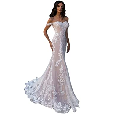 d54ec298540c XJLY Elegant Off The Shoulder Applique Mermaid Weding Dresses with Court  Train Bridal Gowns Champagne