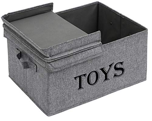 Xbopetda Toy Storage Organizer Chest for Kids & Living Room Nursery Playroom Closet etc. ?Large Collapsible Toys Binlid for Children & Dog Toys Great Box for Boys and Girls-Snow Gray