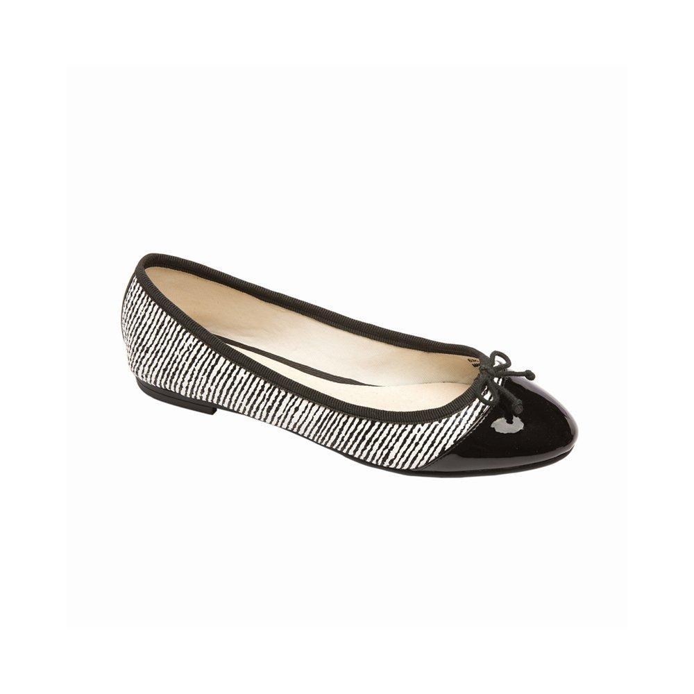 PIC/PAY Anita Women's Flats - Lizard Skin Rounded Toe Ballet Flat B01HFPL07O 9.5 B(M) US|Black/White Strip Snake Pu