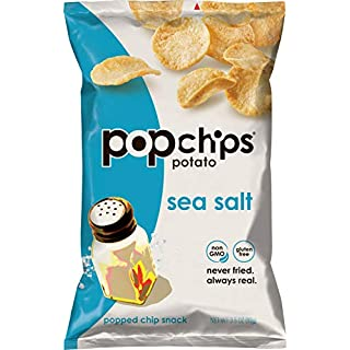 Popchips Potato Chips, Sea Salt Potato Chips, 6 Count (3.5 oz Bags), Gluten Free, Low Fat, No Artificial Flavoring, Kosher
