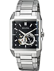 Bulova Mens Automatic Stainless Steel Casual Watch, Color:Silver-Toned (Model: 96A194)