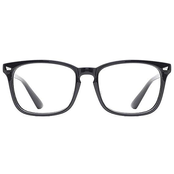 0e8ef17592c Amazon.com  TANGSen Blue Light Blocking Glasses Fashion Square Nerd  Eyeglasses Classic Vintage Frame Anti Blue Ray Glasses  Clothing