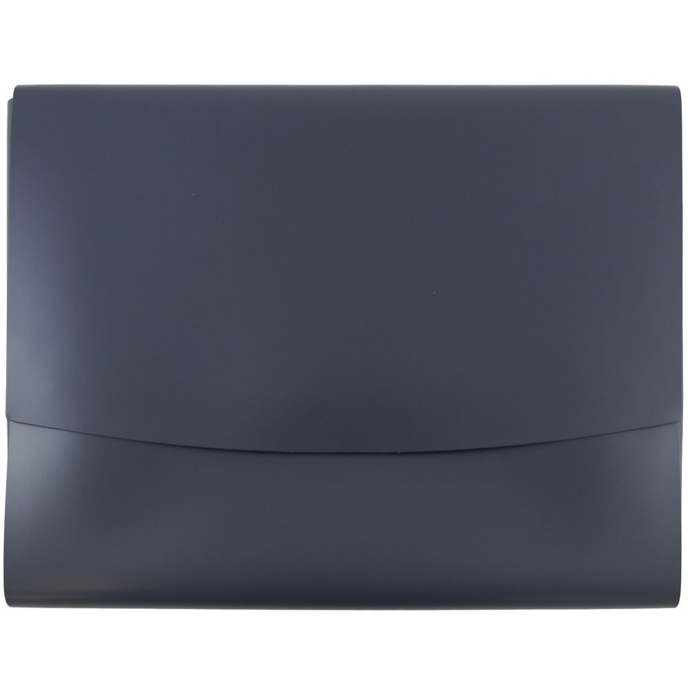 JAM Paper Italian Leather Portfolio with Snap Closure - 10 1/2'' x 13'' x 3/4'' - Navy - Sold Individually