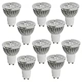 10pcs Pack 4W GU10 LED Bulbs - 6000K Daylight LED Spotlights - 85V-265V (330 Lumen - 50Watt Equivalent) 45 Degree Beam Angle