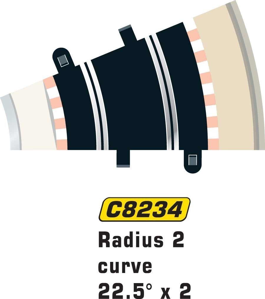 1:32 Scale Accessory C154 Scalextric C8234 Radius 2 Curve 22.5 degree x2