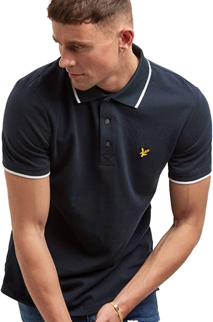 Mens Lyle and Scott Tipped Polo Shirts in White