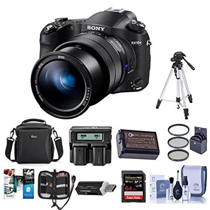 Sony Cyber-Shot DSC-RX10 IV Digital Camera Black - Bundle With Camera Case,  72mm Filter Kit, 64GB SDXC U3 Card, Spare Battery, Tripod, Memory Wallet,