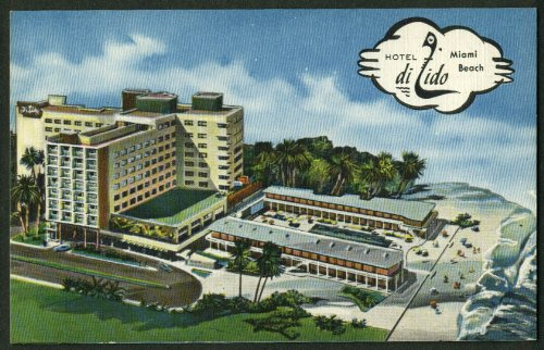 Hotel di Lido Lincoln Road Miami Beach FL linen postcard 1940s ()