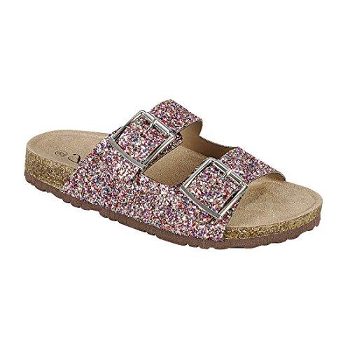 Forever Fq79 Womens Sparkle Glitter Slip På Tillfälliga Sandaler Multi