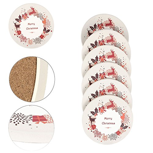 Merry Christmas Coaster - Absorbent Ceramic Stone Coaster,Yoption Set of 6 Absorbent Coaster with Cork Backing for Drinks,Desktop Protection Prevent Furniture Damage,Table Decorations Cup Mat Holder (Merry Christmas, Round)