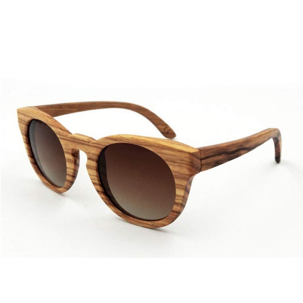 Brown gradients Kirabon Women's Vintage Bamboo Sunglasses Premium TAC Unisex Glasses (color   bluee)