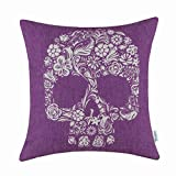 CaliTime Cushion Cover Throw Pillow Shell Halloween Floral Skull 18 X 18 Inches Purple