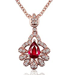 Red Ruby Diamonds Necklace Pendants for Women