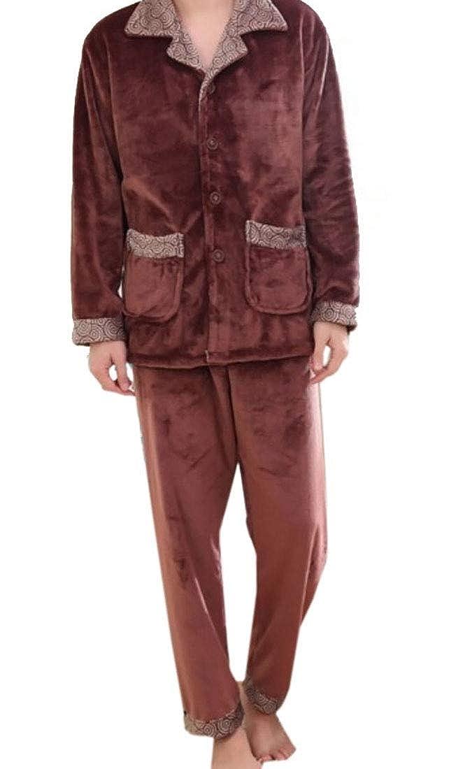 desolateness Mens Flannel Winter Pajamas Sets Long Sleeved Nightwear