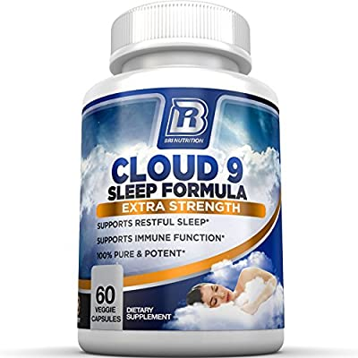 BRI Nutrition - 100% Natural Sleep Formula - Pure and Potent Non-Habit Forming Nightime Sleep Aid Supplement - 60 Vegetarian Capsules - for Deep & Restful Sleep