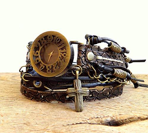 (steampunk watch, women's wrist watch, distressed wrap watch, leather wrist watch, Rustic watch, )