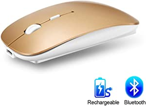 5 8Ghz Ergonomic Bluetooth Wireless Mouse for Laptop PC Tablet Mouse Silent Computer Rechargeable Mouse 10m-Gold