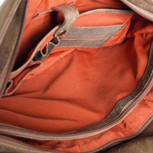 Messenger-Bag / Büchertasche aus geöltem Buffalo Leder 38x29x11 cm von Outback Model: Kalgoorlie, Farbe / Colour:Natural Buckskin Natural Buckskin