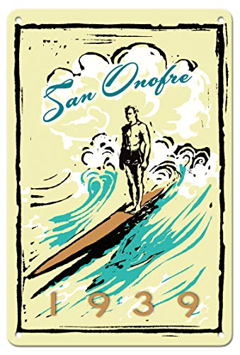 Pacifica Island Art 8in x 12in Vintage Tin Sign - San Onofre (San 'O) California - Surfer on Longboard by Wade -