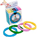 Babynow Teether Baby Toys 4 Colour Teething Rings to Reduce Pain Sooth and Massage Baby Gums Certified BPA Free