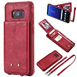 Galaxy S8 Plus Case, Luxury Fashion Shockproof PU Leather Flip Wallet Cover Case + 2 Straps for Samsung Galaxy S8 Plus (Red)