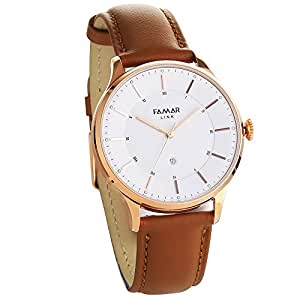 Famar Light Brown leather Hybrid Smart watch L12C11B-Sand Gold Color