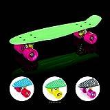 EIGHTBIT 22 Inch Complete Skate Board - Retro Skateboard Glow-in-the-Dark - Kryptonite/ Punch
