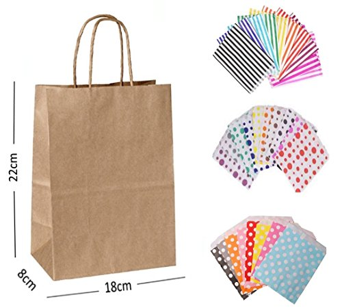 15 x NATURAL TAN KRAFT PARTY PAPER GIFT BAGS – EACH WITH A MATCHING CANDY STRIPE SWEET BAG