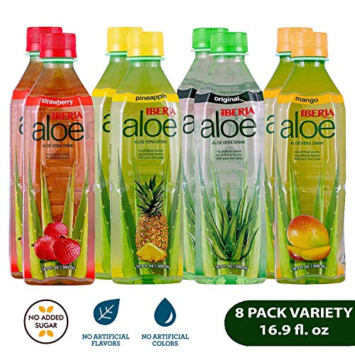 Iberia Aloe Vera Drink with Pure Aloe Pulp (Pack of 8) No Added Sugar, No Artificial Color & Flavor, Variety Pack with Original, Mango, Pineapple & Strawberry, BPA ()