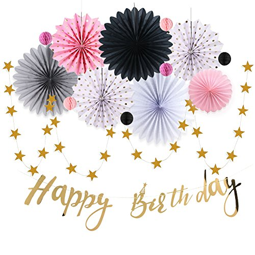 Birthday Party Decoration Set Kit (15pcs) and Party Decorations All-in-One Pack including Gold Foil Happy Birthday Banner,Paper Fans,Polka Dot Rosette,Star Garland,Mini Honeycomb Balls -