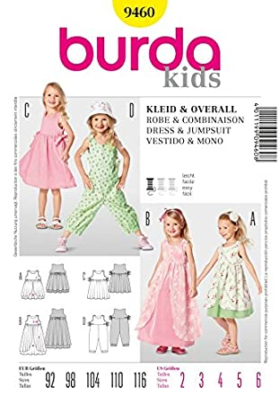 Burda Childrens Easy Sewing Pattern 9460 Dresses & Jumpsuit