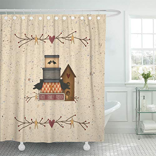 Semtomn Shower Curtain Waterproof Polyester Fabric 72 x 72 inches Heart Primitive Faith Family Friends Country Pip Berry Birdhouse Set with Hooks Decorative Bathroom ()