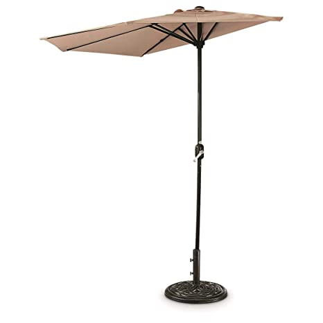 CASTLECREEK 8u0027 Half Round Patio Umbrella, Khaki