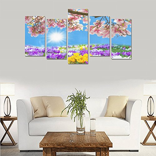 Hotel or Spa Wall Decoration Pink Jasmine Colorful Flower Room Wall Canvas Print Living Room Fashion Personality Decorative Oil Painting 5 Piece Canvas painting (No Frame) by sentufuzhuang Canvas Printing