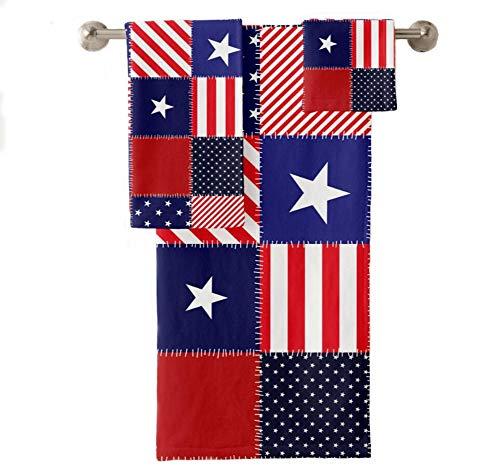 Piece 13 Flag (VunKo Patriotic American Flag Bathroom Towel Set 3 Piece,July 4th Stars Bath Towel 30x60 Hand Towel 16x28 Wash Cloth 13x13 Sports Swimming Camping Towel)