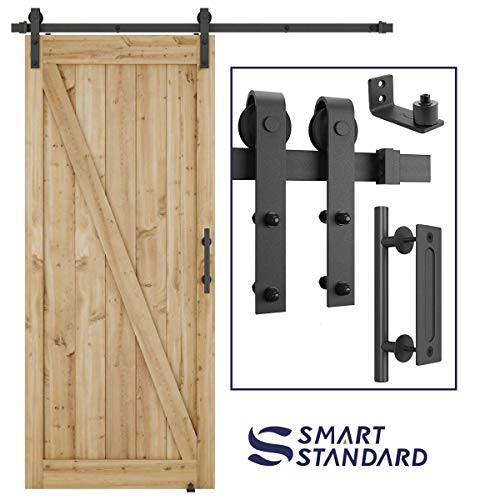 Hardware Door Sliding - 6 FT Heavy Duty Sturdy Sliding Barn Door Hardware Kit, 6ft Single Rail, Black, (Whole Set Includes 1x Pull Handle Set & 1x Floor Guide) Fit 36