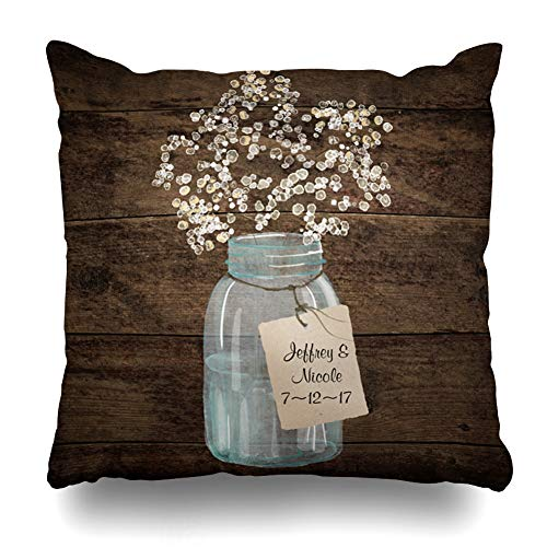 Suesoso Decorative Pillows Case 16 x 16 Inch Rustic Barn Wedding Wood Mason Jar Babys Breath Throw Pillowcover Cushion Decorative Home Decor Garden Sofa Bed Car ()