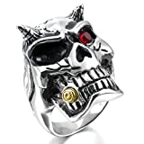 MoAndy Jewelry Mens Large Stainless Steel Rings CZ Silver Black Gold Red Devil Skull Gothic Biker Size 14