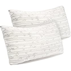Premium Shredded Hypoallergenic Certipur Memory Foam Pillow with washable removable Ultra cool bamboo derived rayon cover, Adjustable Loft Bamboo Pillows By Clara Clark - 2 Pack - Queen Size