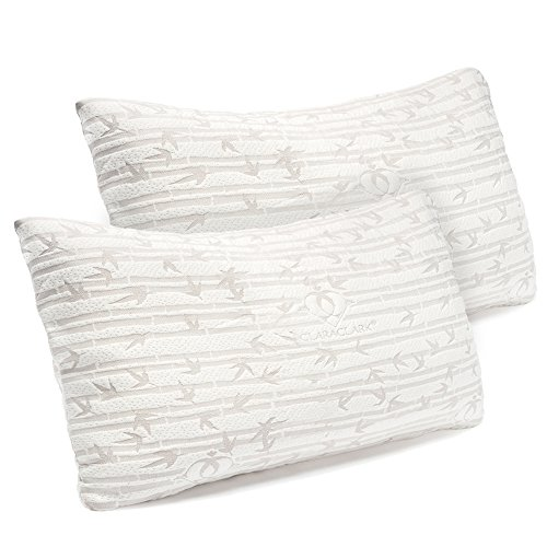 Premium Shredded Hypoallergenic Certipur Memory Foam Pillow with washable removable Ultra cool bamboo derived rayon cover, Adjustable Loft Bamboo Pillows By Clara Clark - 2 Pack - King Size