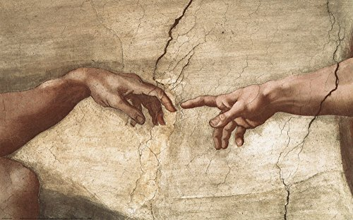Creation Of Adam (detail of hands) by Michelangelo Buonarroti Art Print, 25 x 16 inches - Michelangelo Buonarroti Creation Of Adam